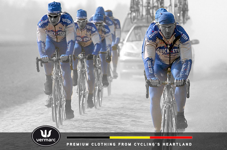 Vermarc has had a long and prosperous relationship with the various iterations of Team Quick-Step, seen here during recon of the 2003 Paris-Roubaix course. Leading the line of riders on the right is team leader Johan Museeuw while a young Tom Boonen leads the line of riders on the left