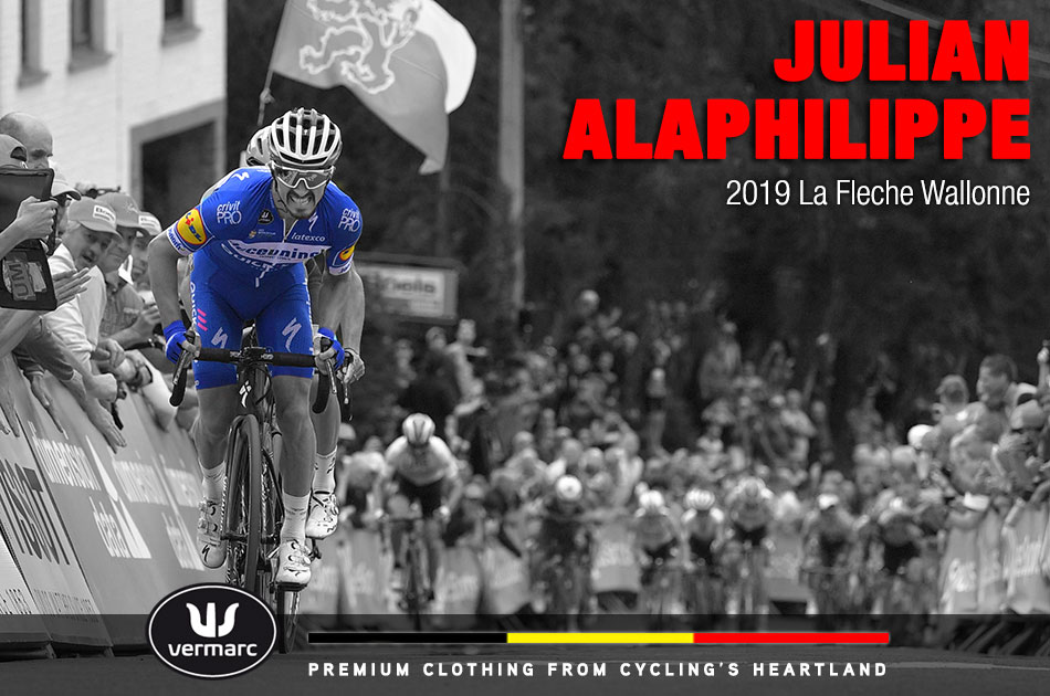 Julian Alaphilippe en route to winning the 2019 La Fleche Wallonne