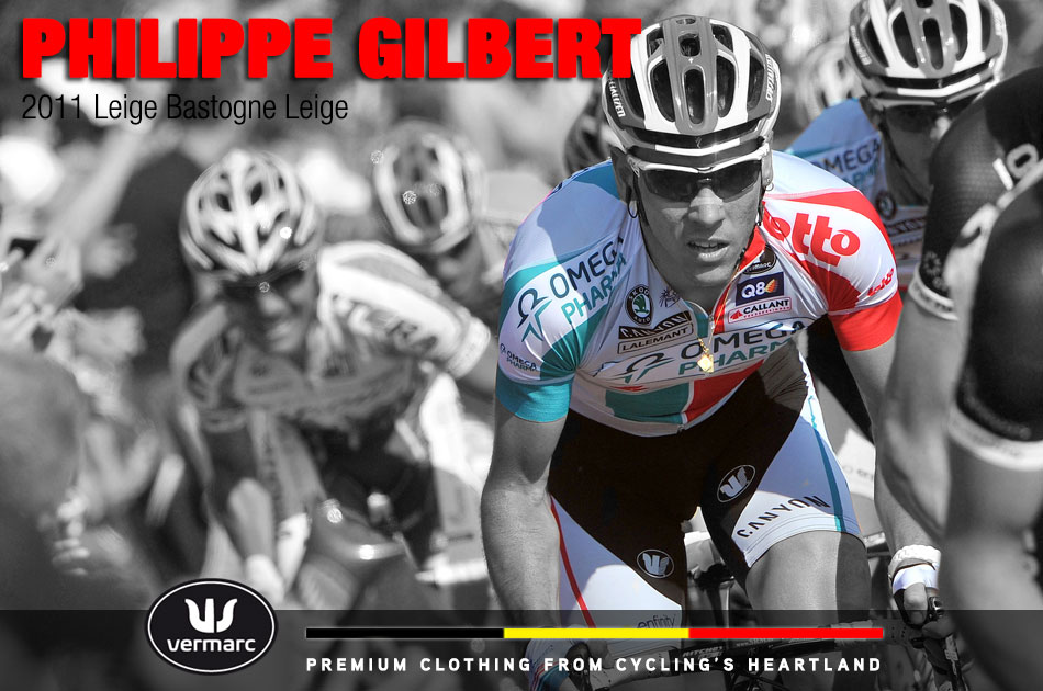 Philippe Gilbert en route to winning Leige-Bastogne-Leige