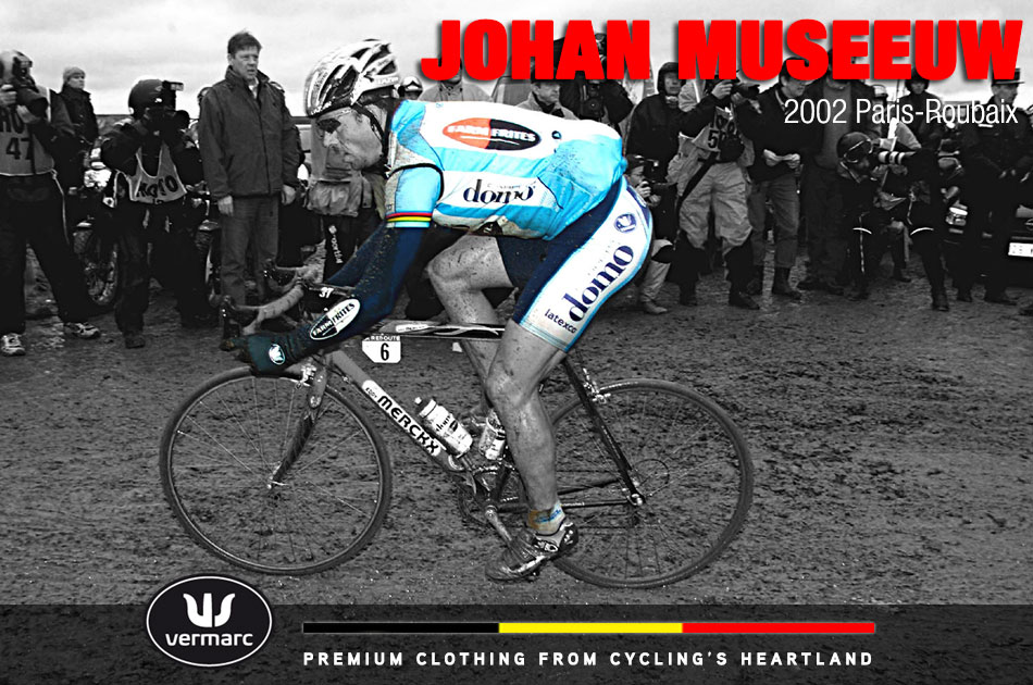 "The next year it was his team mate Johan Museeuw who would win The Hell of the North in ""somewhat"" drier conditions. At least you can se the Vermarc logo on his shorts."