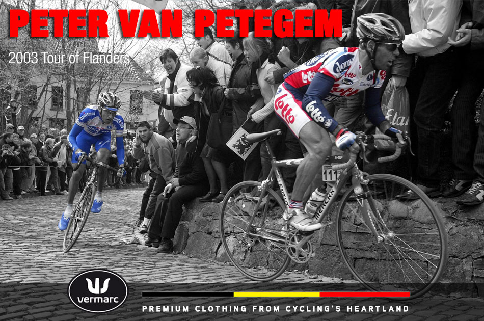 Peter Van Petegem leads Frank Vandenbroucke en route to winning the 2003 Tour of Flanders (Ronde van Vlaanderen)