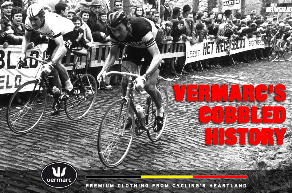 Vermarc founder Frans Verbeek battles with Eddy Merckx on the cobbled climbs of the Flanders region